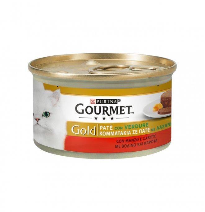Purina gourmet gold gatto pate' al manzo e carota da 85 gr in lattina