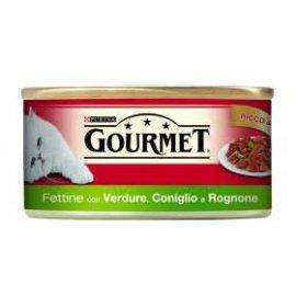 Purina gourmet gatto fettine al coniglio rognone verdure da 195 gr in lattina