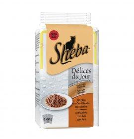 Sheba gatto selezione delicata pollo carni bianche tacchino - 2 buste omaggio 6 buste da 50 gr