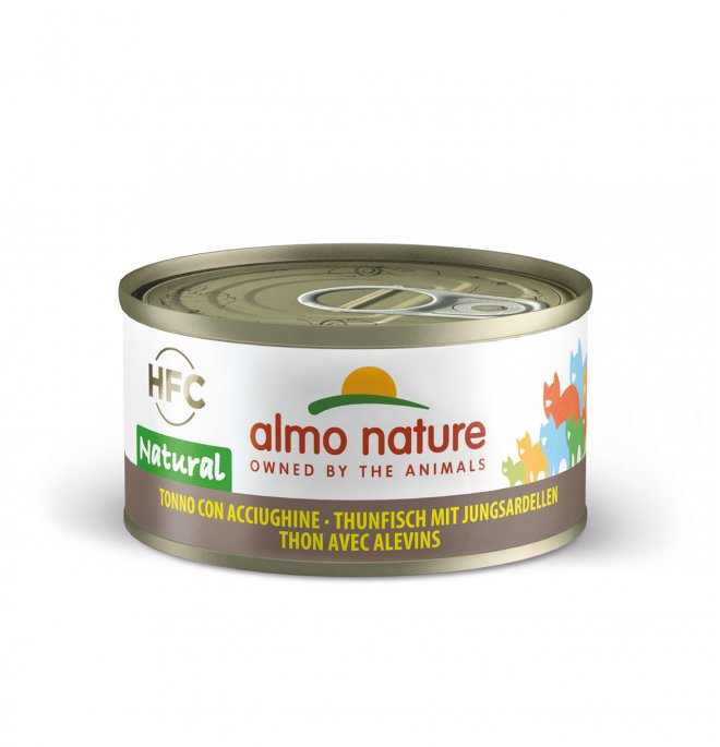 Almo nature gatto natural con tonno e acciughine da 70 gr in lattina