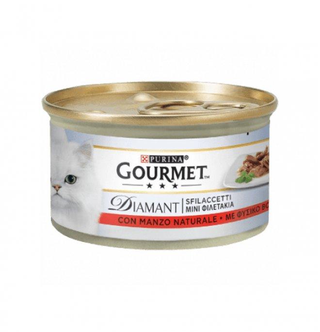 Purina gourmet diamant gatto sfilaccetti con manzo da 85 gr in lattina