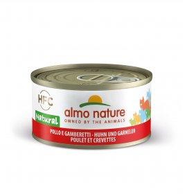 Almo nature gatto natural con pollo e gamberetti da 70 gr in lattina