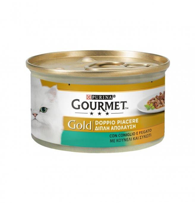 Purina gourmet gold gatto duo al coniglio e fegato da 85 gr in lattina