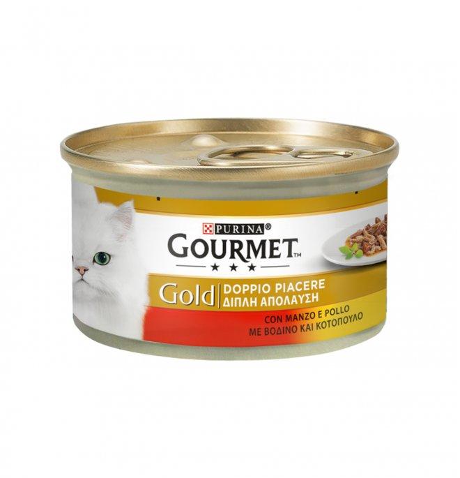 Purina gourmet gold gatto duo al manzo e pollo da 85 gr in lattina