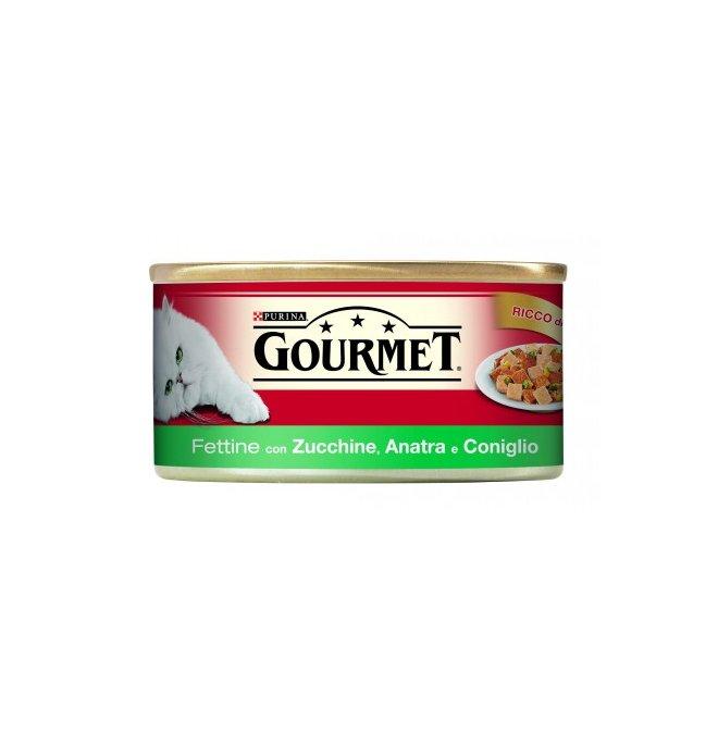 Purina gourmet gatto all' anatra coniglio e zucchine da 195 gr in lattina