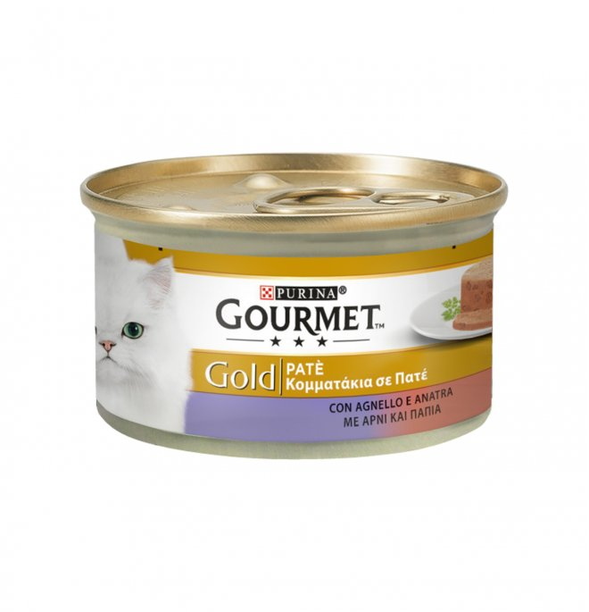 Purina gourmet gold gatto pate' all' anatra e agnello da 85 gr in lattina