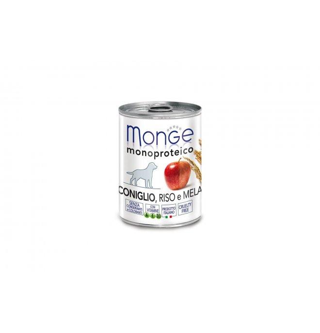 Monge cane monoproteico al coniglio e riso e mela da 400 gr in lattina