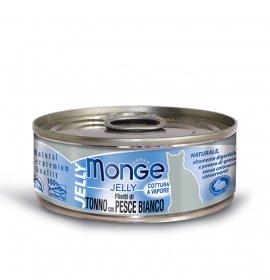 Monge gatto jelly al tonno e pesce bianco da 80 gr in lattina