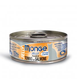 Monge gatto jelly al tonno e salmone da 80 gr in lattina