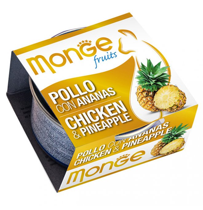 Monge gatto fruit al pollo e ananas da 80 gr in lattina