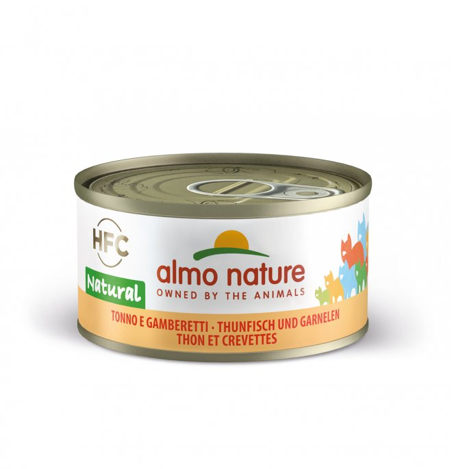 Almo nature gatto natural con tonno e gamberetti da 70 gr in lattina