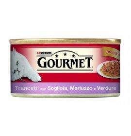 Purina gourmet gatto al merluzzo sogliola e verdure da 195 gr in lattina
