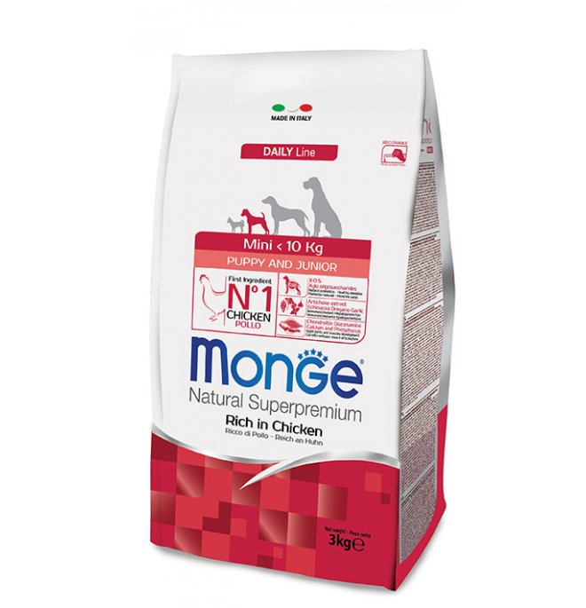 Monge superpremium cane puppy & junior mini da 3 kg