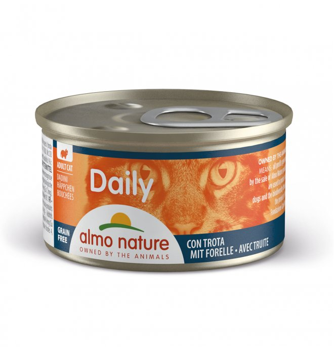 Almo nature gatto dailymenu dadini con trota da 85 gr in lattina