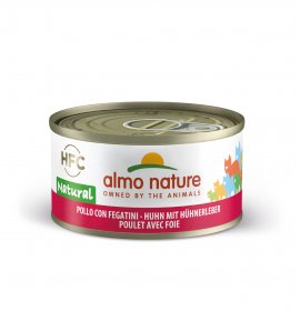 Almo nature gatto natural con pollo e fegatini da 70 gr in lattina