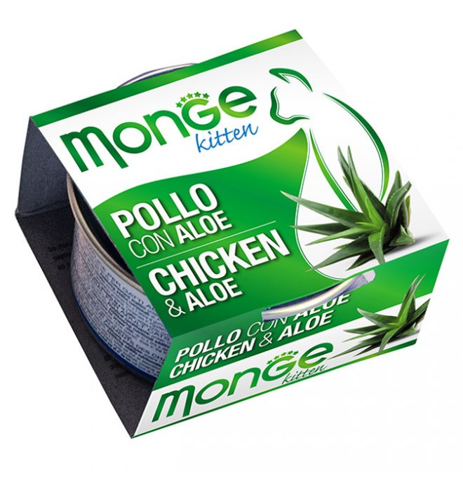 Monge gatto fruit al pollo e aloe da 80 gr in lattina