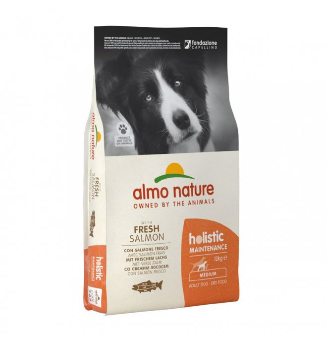 Almo nature cane holistic adult medium con salmone da 12 kg