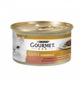 Purina gourmet gold gatto casserole all' anatra e tacchino da 85 gr in lattina
