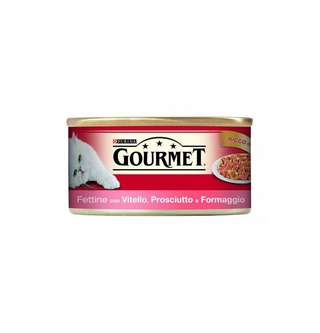 Purina gourmet gatto al vitello formaggi e prosciutto da 195 gr in lattina