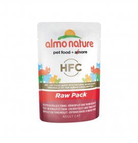 Almo nature gatto classic raw pack con filetto di pollo e tonno da 55 gr in busta