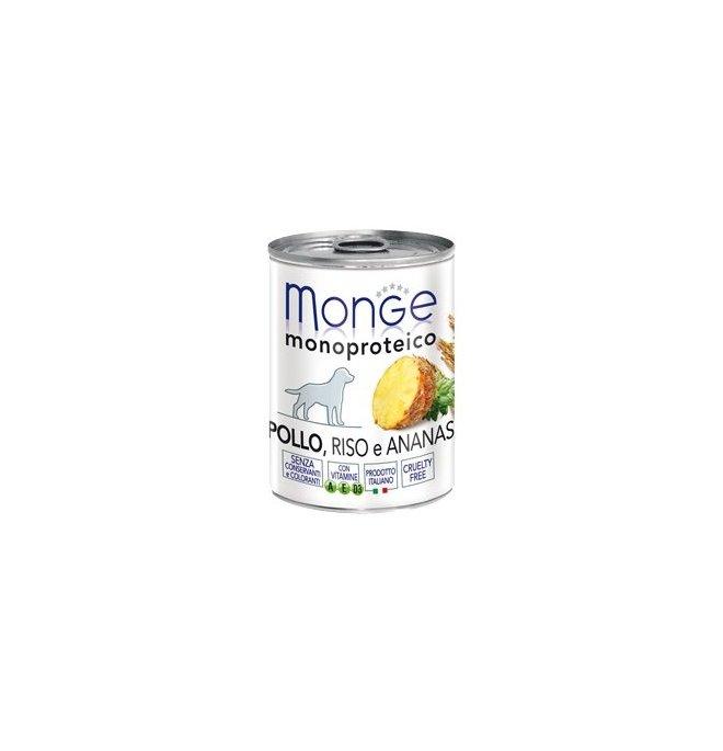 Monge cane monoproteico al pollo riso e ananas da 400 gr in lattina