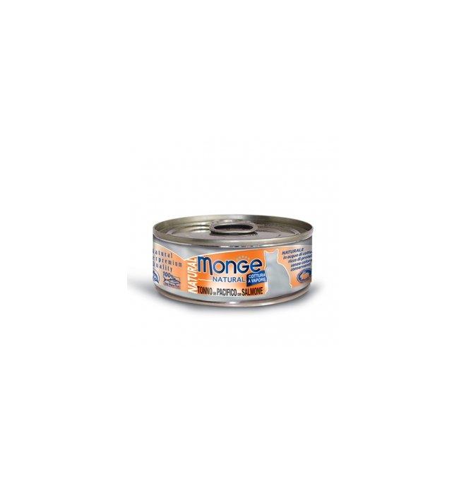 Monge gatto natural al tonno e salmone da 80 gr in lattina