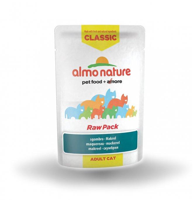 Almo nature gatto classic raw pack con sgombro da 55 gr in busta