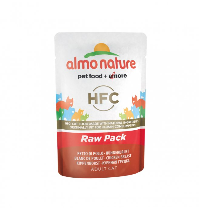 Almo nature gatto classic raw pack con petto di pollo da 55 gr in busta