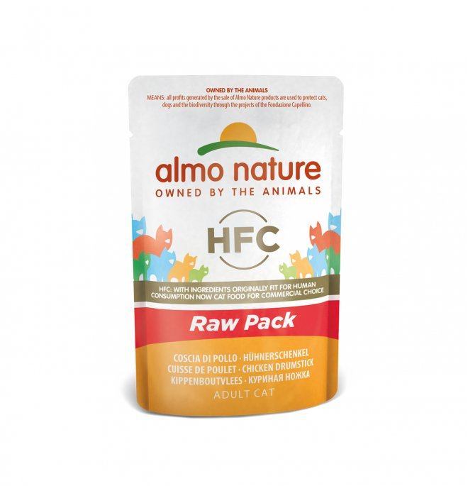 Almo nature gatto classic raw pack con coscia di pollo da 55 gr in busta