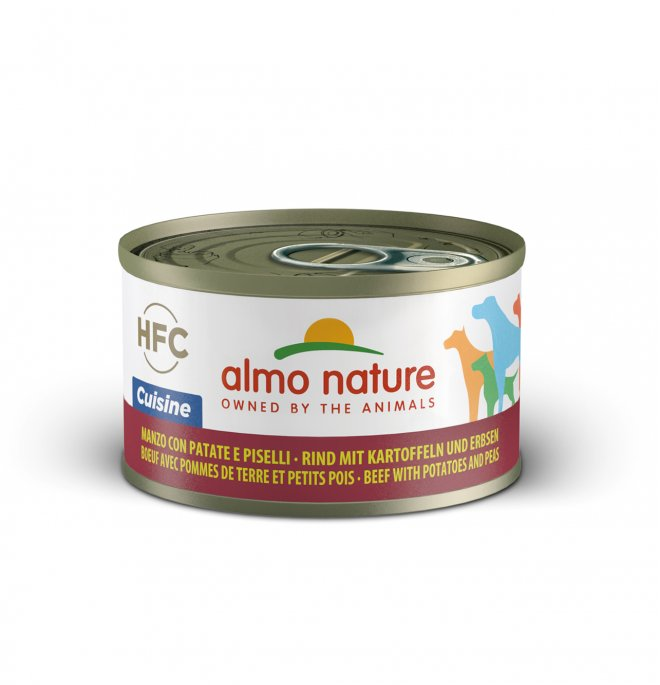Almo nature cane classic home made al manzo con patate e piselli da 95 gr in lattina