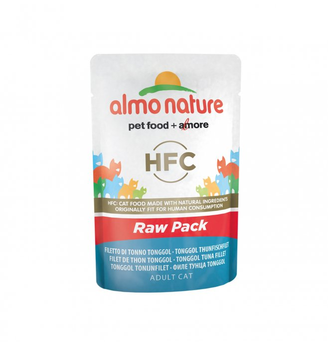 Almo nature gatto classic raw pack con filetto di tonno tonggol da 55 gr in busta