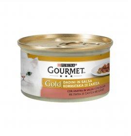 Purina gourmet gold gatto dadini anatra e olive da 85 gr in lattina