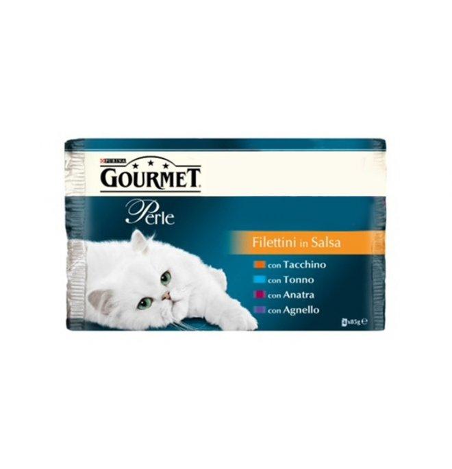 Purina gourmet perle gatto al tacchino tonno anatra agnello 4 buste da 85 gr
