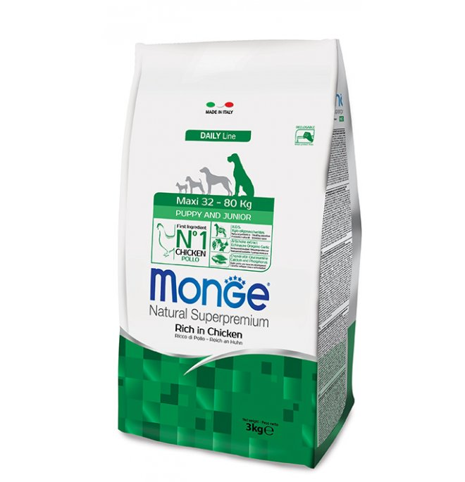 Monge superpremium cane puppy & junior maxi da 3 kg