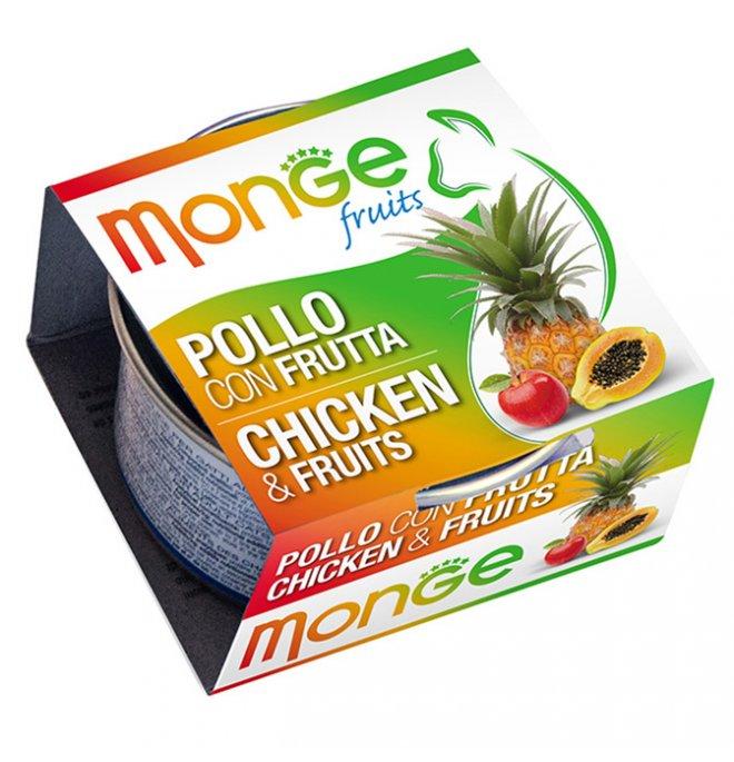 Monge gatto fruit al pollo e frutta da 80 gr in lattina