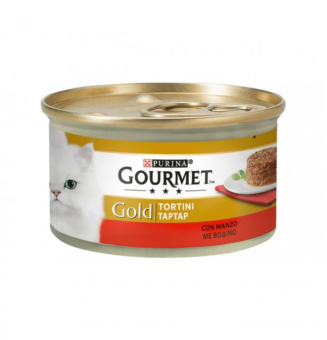 Purina gourmet gold gatto tortini al manzo da 85 gr in lattina