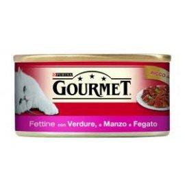 Purina gourmet gatto fettine al manzo fegato e verdure da 195 in lattina