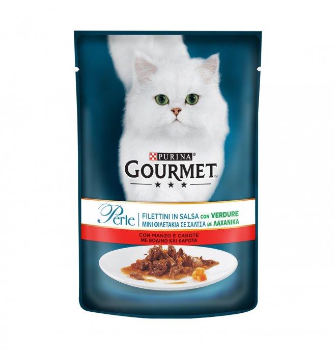Purina gourmet perle gatto al manzo e carote da 85 gr in busta