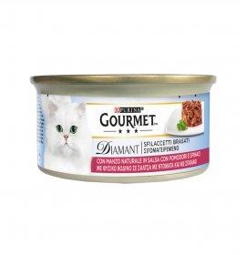 Purina gourmet diamant gatto sfilaccetti brasati con manzo pomodoro e spinaci da 85 gr in lattina