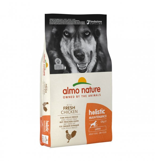 Almo nature cane holistic adult large con pollo e riso da 12 kg