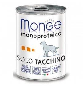 Monge cane monoproteico solo tacchino da 400 gr in lattina