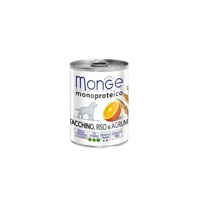 Monge cane monoproteico al tacchino riso e agrumi da 400 gr in lattina