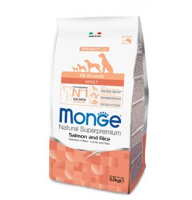 Monge superpremium cane adult all breeds salmone e riso da 2,5 kg