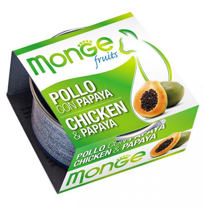 Monge gatto fruit al pollo e papaya da 80 gr in lattina
