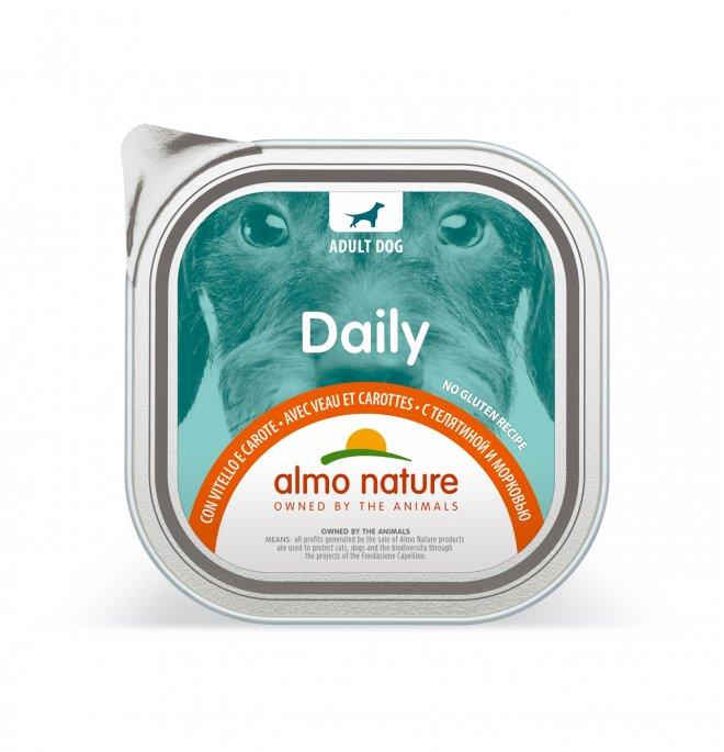 Almo nature cane dailymenu con vitello e carote da 100 gr in vaschetta