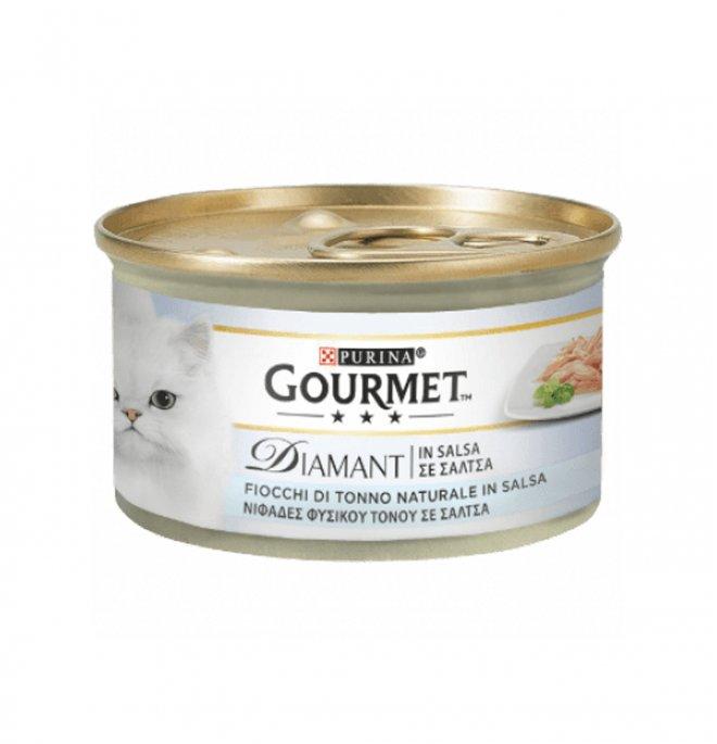 Purina gourmet diamant gatto con fiocchi di tonno da 85 gr in lattina