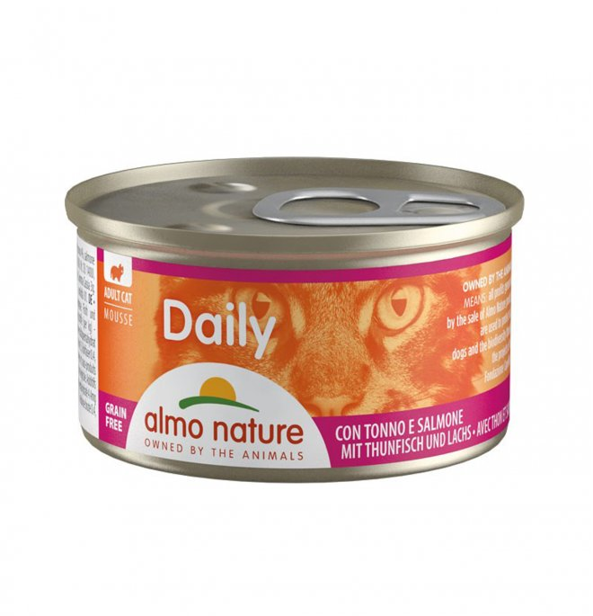 Almo nature gatto dailymenu mousse con tonno e salmone da 85 gr in lattina