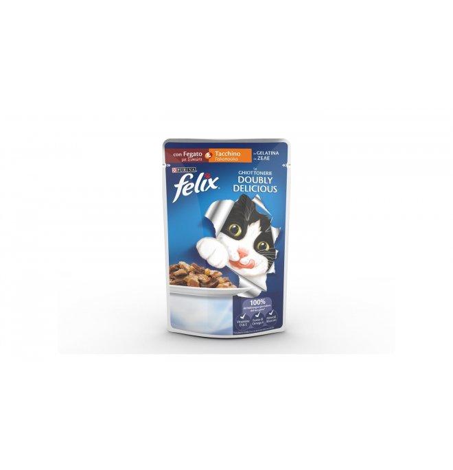 Purina felix gatto doubly delicious al tacchino e fegato da 100 gr