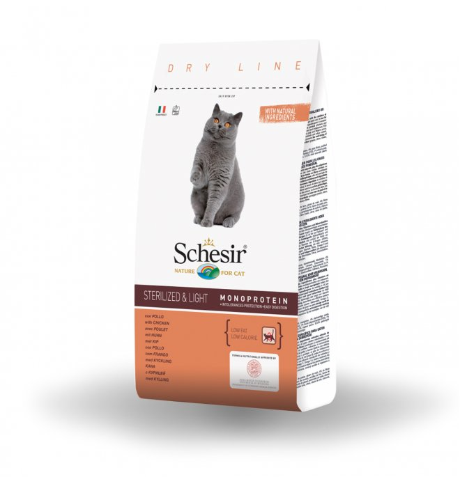 Agras schesir gatto adult sterilized & light con pollo da 1,5 kg