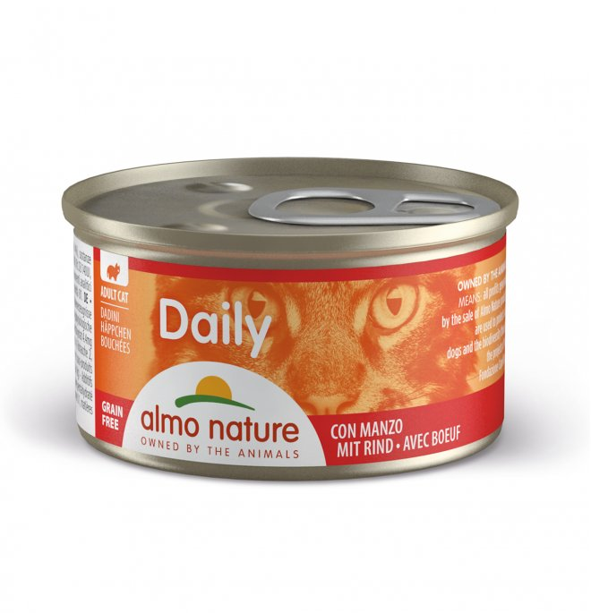 Almo nature gatto dailymenu dadini con manzo da 85 gr in lattina